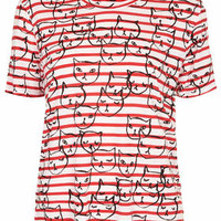 Conversational Stripe Cat Tee - Red