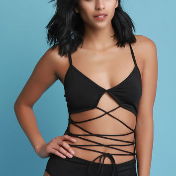 Strappy Lace Up V-Neck One Piece Swimsuit | UrbanOG