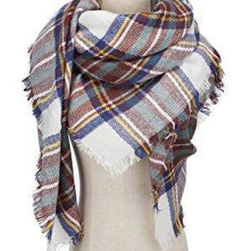 VIISHOW Winter All-match Warm Plaid Blanket Best Gift Scarf Oversized Shawl Cape