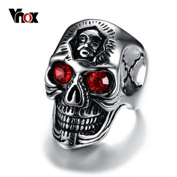 Red Eyes Skull Ring Jewelry with Red Stone