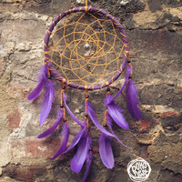 Dream Catcher - Sacral Place  - With Crystal Prism, Orange Web, Purple Feathers and Frame - Boho Home Decor, Nursery Mobile
