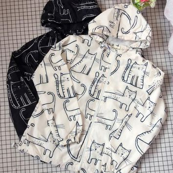 Japanese style soft girl College cat Print Hoodie Short Jacket Summer and Autumn