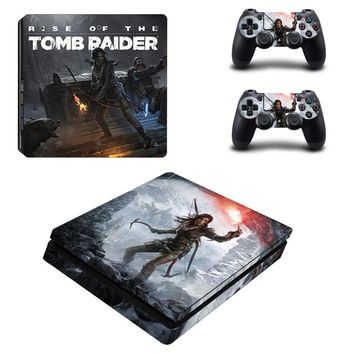 Tomb Raider Style Skin Sticker Cover For Playstation 4 Slim PS4 Slim Console & Decals Of 2 Slim Controllers