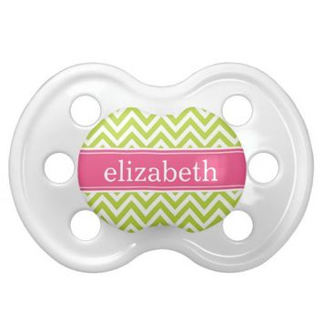 Apple Green & Pink Chevron & Monogram Baby Pacifiers from Zazzle.com
