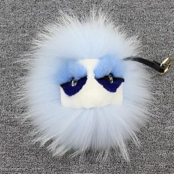 BEADY FUR MONSTER BAG CHARM - DYLAN BABY BLUE