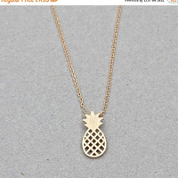 ON SALE Gold Pineapple Necklace, Pineapple Necklace, Boho Necklace, Boho Jewelry, Women's Gift