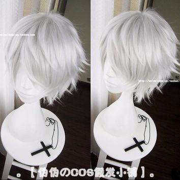 Cool IHYAMS Wigs Tokyo Ghoul Kaneki Ken Wig Short Straight Silver Grey Synthetic Hair Cosplay Anime Wigs Heat Resistance FiberAT_93_12