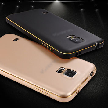Luxury Gold Plastic Metal Aluminum + Panel Hard PC Back Hybrid Case For Samsung Galaxy S4 S5 S6 S7 edge Armor Phone Cover
