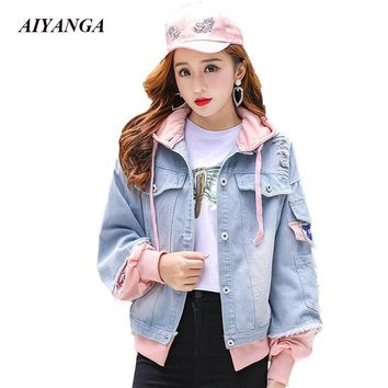Trendy Patchwork Hooded Jackets Women 2018 Autumn Denim Outerwear Hole Causal Jackets Single Breasted Preppy Style Women's clothing AT_94_13