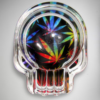 Tie Dye Leaf Shaped Glass Ashtray