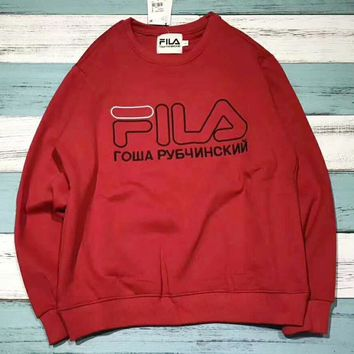 FILA X Gosha Rubchinskiy Lady Men Round Collar With A Loose Long Sleeve Sweater Top I-A001-MYYD