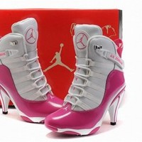 air jordan white pink 6rings heels boots ladies