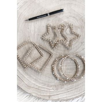 Hurry Up Gold Rhinestone Earrings