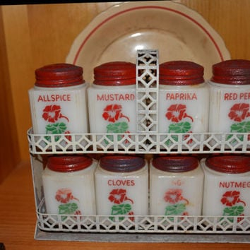 McKee Tipp Red Flower Spice Rack with Rack/Red Kitchen Decor/Depression Glass/Milk Glass