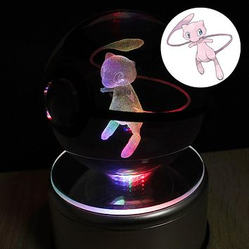 3D Laser Pokemon Go Crystal Ball Mew LED Night Light Magic Ball for Children Christmas Gifts HUI YUAN theme