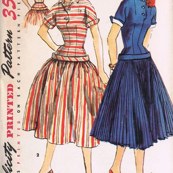 1950's Vintage Sewing Pattern, Retro Drop Waist One-Piece Dress, Simplicity 1040, Uncut Factory Folded