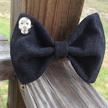 Black Denim Hair Bow with Skull by DenimAndStuds on Etsy