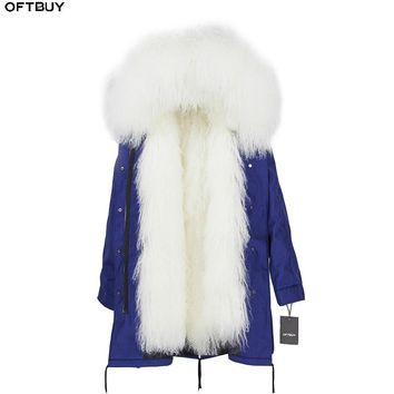 OFTBUY 2018 Long Parka Winter Jacket Women Real Fur Coat Natural Mongolia Sheep Fur Thick Warm Parkas Hood Plus Size Brand New