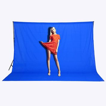 CY Free shipping 3mx2m Blue Photo Lighting Studio Background 100% Cotton Chromakey Screen Muslin Backdrop sheet effect image