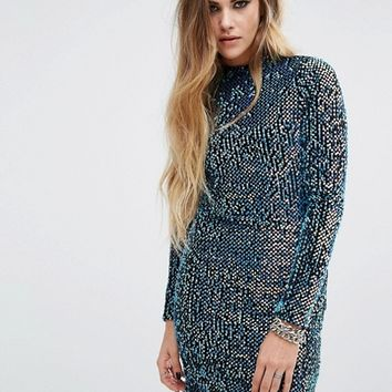 Motel Backless Sequin High Neck Bodycon Dress at asos.com
