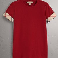 Check Cuff Stretch Cotton T-Shirt in Lacquer Red - Women | Burberry United States