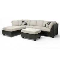 SAVE Baxton Studio Mancini Modern Sectional Sofa and Ottoman Set