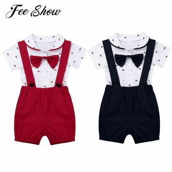 FEESHOW Infant Baby Boy Clothes Short Sleeve Bowtie Suspender Shorts Toddle Boy Gentleman 1st Birthday Party Romper Jumpsuit Set