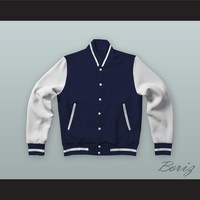 Brad Hamilton Dark Blue Varsity Letterman Jacket-Style Sweatshirt Fast Times at Ridgemont High