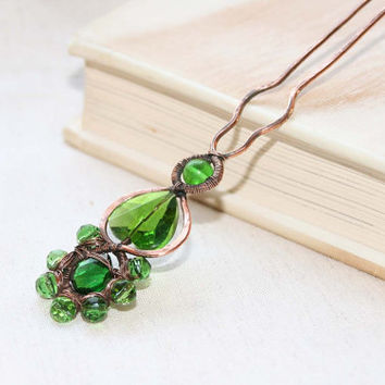 Wire Wrapped Hair Stick, Metal Copper hair Fork, Wire Wrapped  Hair Accessories, Hair Pin, Green  Brown, Shawl Pin, Ornate Artisan Victorian