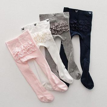 Baby Girls Cotton Tights Solid Color Lace