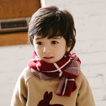 Autumn Winter Kid Knit Plaid Scarf Boy Girl Child Collar Neckerchief Fashion Casual Warm Kid Soft Wool Neck Snood Scarves B2