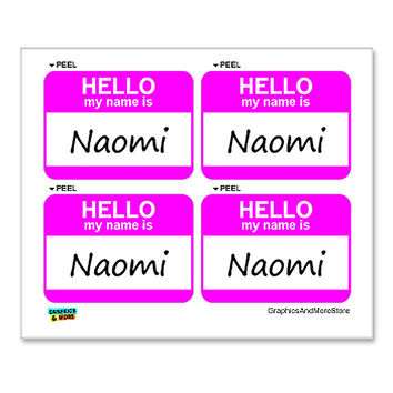 Naomi Hello My Name Is - Sheet of 4 Stickers