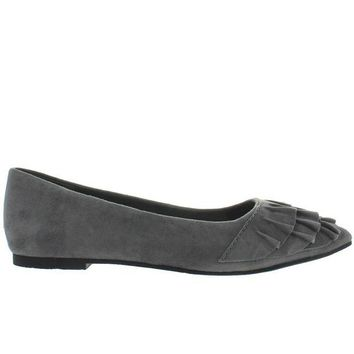 VONES2C Seychelles Downstage - Grey Suede Ruffled Slip-On Flat