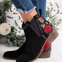 Phaedra Embroidered Booties (Black)