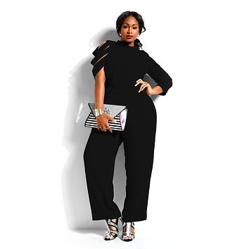 Women Irregular Chiffon Rompers Long Rompers Bodysuit Elegant Jumpsuit