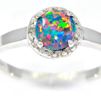 1 Carat Black Opal Round Diamond Ring .925 Sterling Silver Rhodium Finish