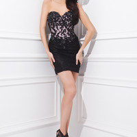 Tony Bowls TS21476 - Black/Pink Strapless Lace Cocktail Dresses Online