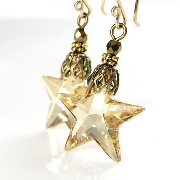 Gold Crystal Star Earrings Silky Champagne Yellow Swarovski Crystal Star Earrings Antique Gold Star