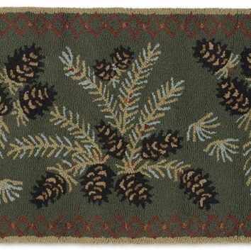 Diamond Pinecone 2' X 4' Hooked Wool Rug
