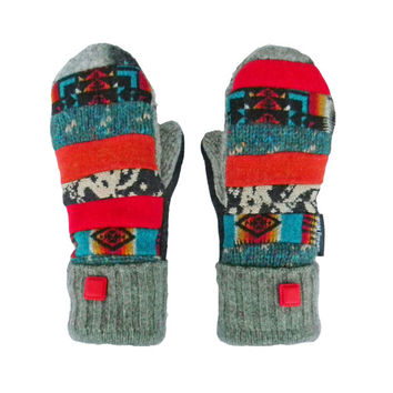 Patchwork Wool Mittens, Colorful Recycled Mittens, Gift for Her, Pendleton Wool  Red Black Turquoise Orange Hippie Boho Sweaty Mitts Women's