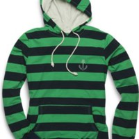 Sperry Top-Sider Striped Pull Over Hoodie Navy/GreenStripe, Size S  Men's