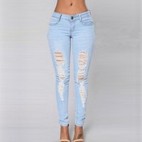 SIMPLEE Skinny Ripped Blue Jeans