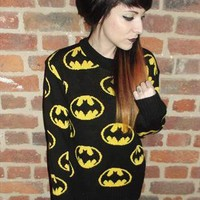 90's Retro GRUNGE Slouchy BATMAN Chunky Knit Jumper from CherryCameTo