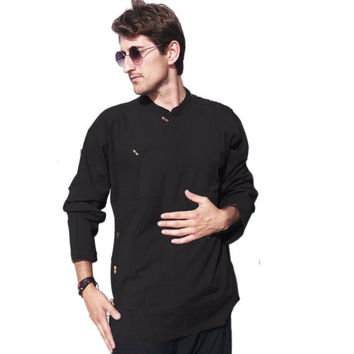 Men's full sleeve Tibetan style shirt  - Ethnic Kurta Hippie Yoga shirt