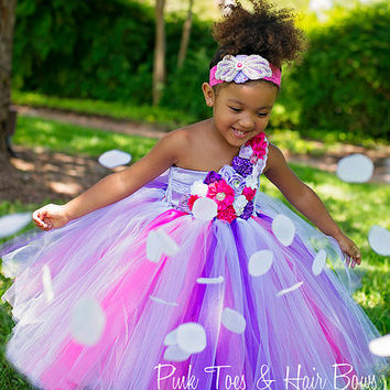 White Pink and purple Flower girl dress-White Pink and purple flower girl tutu dress-white pink and purple couture tutu dress