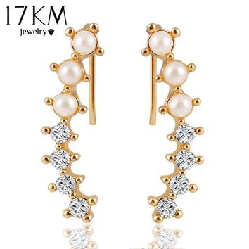 17KM Fashion Hot Ladies Womens Sweet Gold Color simulated Pearl Crystal 6 Beads Cuff Ear Clips Earring Style Earrings Jewelry