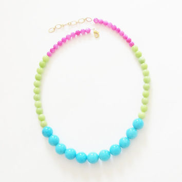 Color Block Necklace Turquoise Blue, Apple Green, Fuchsia Pink, Dyed Jade Necklace - Graduated Statement, Wedding, Bridal, Bridesmaid