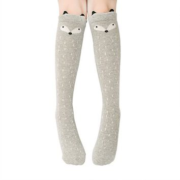Baby Girls Cute Cartoon Animal Cotton Knee High Stockings Over Knee Socks Color:gray fox - Walmart.com