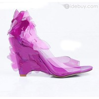 Fancy Purple Transparent Wedge Heels Peep Toe Prom/Evening Shoes