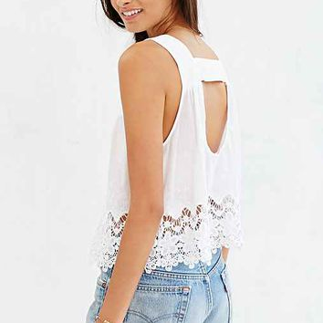 COPE Square-Neck Eyelet Tank Top-
